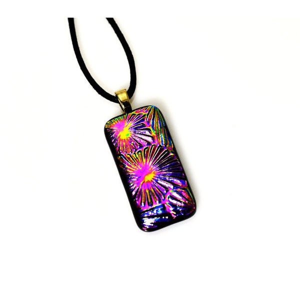 Dichroic Glass Pendant Necklace in Shades of Pinks and Yellow - Side Street Studio