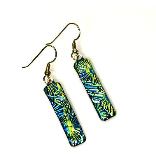 STERLING SILVER DICHROIC GLASS EARRING - Side Street Studio