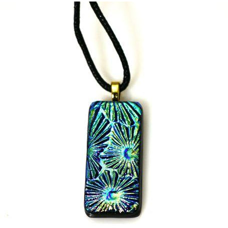 Dichroic Glass Pendant Necklace in Shades of Blues and Greens