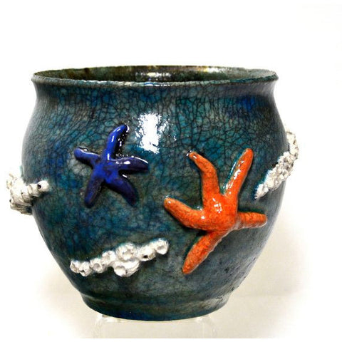RAKU BARNACLE AND SEA STAR VASE - Side Street Studio
