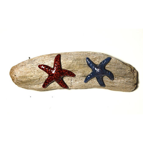 RAKU STARFISH ON DRIFTWOOD WALL HANGING - Side Street Studio