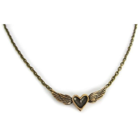 BRONZE HEART WITH WINGS NECKLACE - Side Street Studio