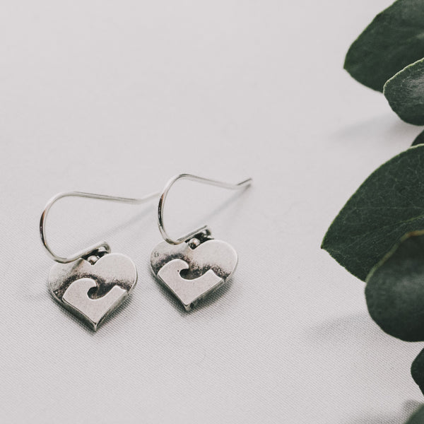 Heart Earrings with Wave Design
