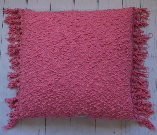 "24"" PRETTY IN PINK TASSLE SQUARE FLOOR PILLOW"