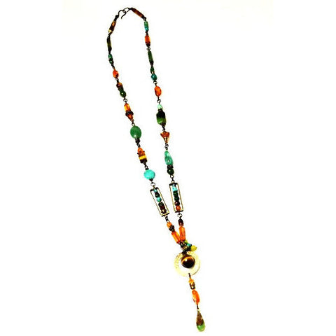 AMBER JADE AND TURQUOISE PENDANT NECKLACE - Side Street Studio - 1