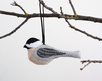 Hand Embroidered Chickadee Ornament