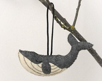 Hand Embroidered Grey Whale Ornament