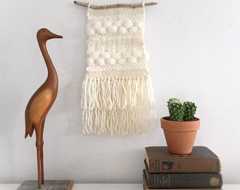 Hand woven Tapestry in Neutrals with Driftwood