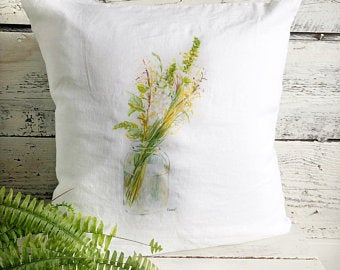 Jar of Wildflowers Pillow Cover by Emma Pyle