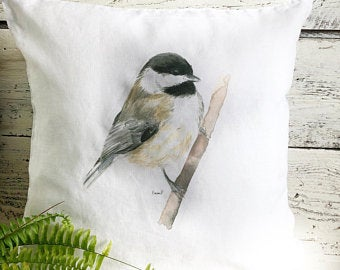 Chickadee On a Branch Pillow Cover by Emma Pyle