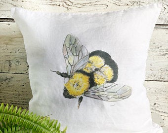 Bumble Bee Pillow Cover by Emma Pyle