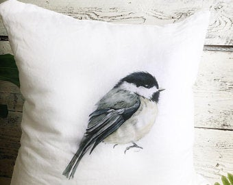 Chickadee Pillow Cover by Emma Pyle