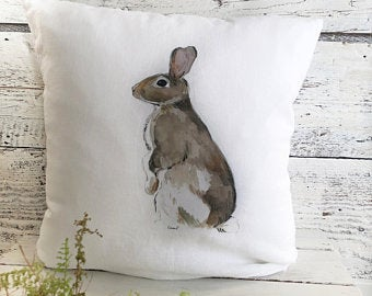 Standing Rabbit Pillow Cover by Emma Pyle