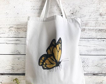 Monarch Butterfly Tote Bag by Emma Pyle Art