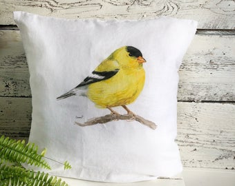 Golden Finch Pillow Cover by Emma Pyle