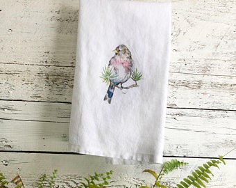 Bird with Blue Tail Tea Towels by Emma Pyle