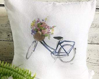 Vintage Bike Pillow Cover by Emma Pyle