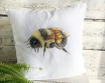 Honey Bee Pillow Cover by Emma Pyle