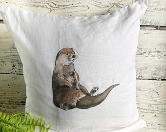 Relaxed Otter Pillow Cover by Emma Pyle