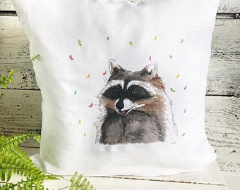 Raccoon Pillow Cover by Emma Pyle