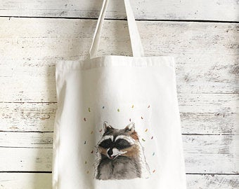 Raccoon Tote Bag by Emma Pyle Art