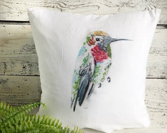 Hummingbird Yellow Head Pillow Cover by Emma Pyle