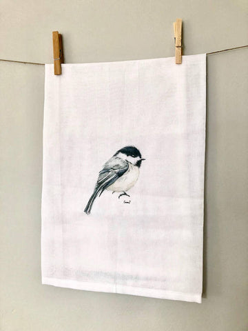 CHICKADEE TEA TOWELS BY EMMA PYLE ART