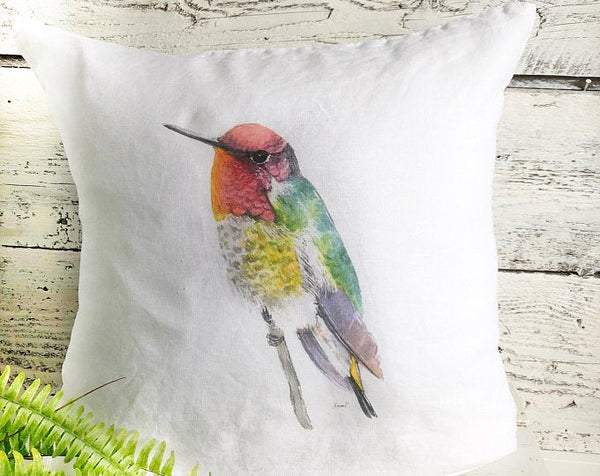 Pink Head Hummingbird Pillow Cover by Emma Pyle