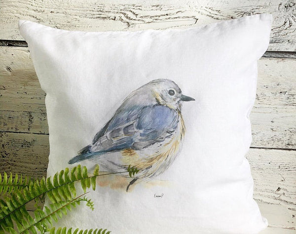 Blue Bird Pillow Cover by Emma Pyle