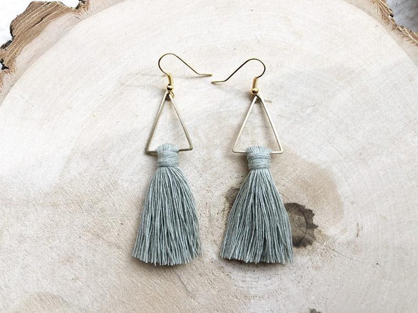Meraki Macrame Tassel Earrings Sage Green - Side Street Studio