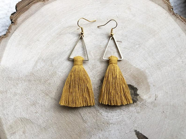 Meraki Macrame Tassel Earrings Orange Gold - Side Street Studio