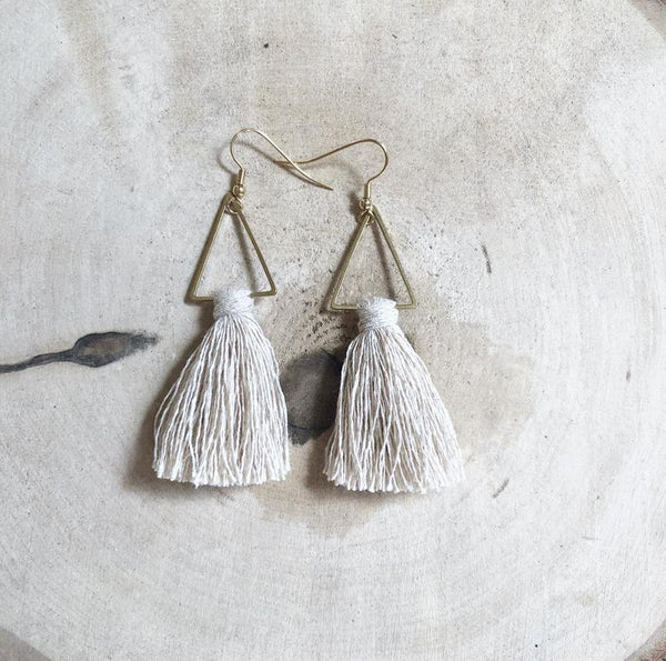 Meraki Macrame Tassel Earrings Cream - Side Street Studio