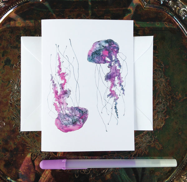 Purple Jellyfish Greeting Card