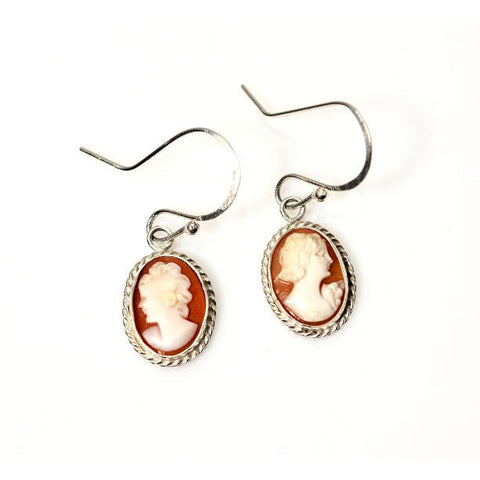 STERLING SILVER AND CAMEO EARRINGS - Side Street Studio