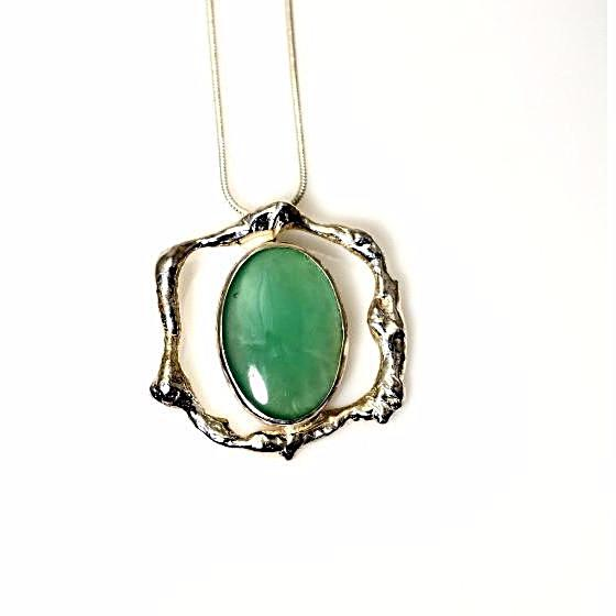 STERLING SILVER AND CHRYSOPRASE PENDANT - Side Street Studio