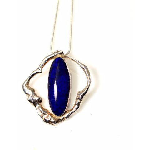 STERLING SILVER AND LAPIS LAZULI PENDANT - Side Street Studio