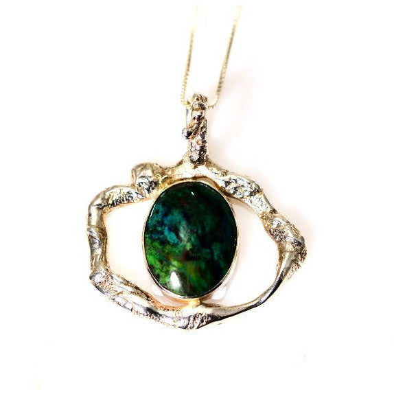 STERLING SILVER AND CHRYSOCOLLA PENDANT - Side Street Studio