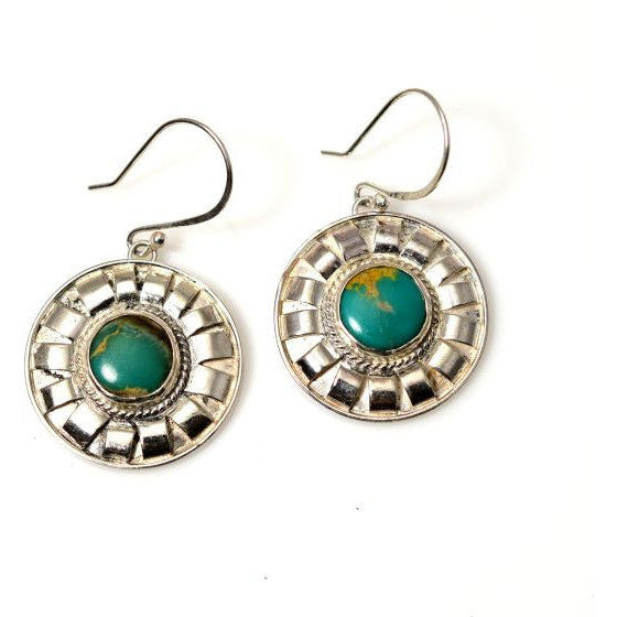 STERLING SILVER AND TURQUOISE EARRINGS - Side Street Studio