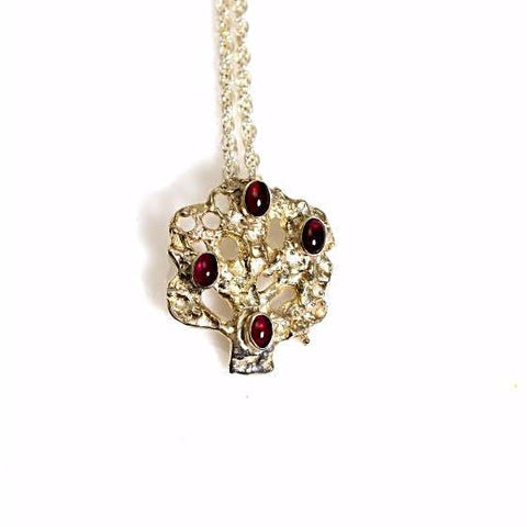 STERLING SILVER AND GARNET TREE OF LIFE PENDANT - Side Street Studio