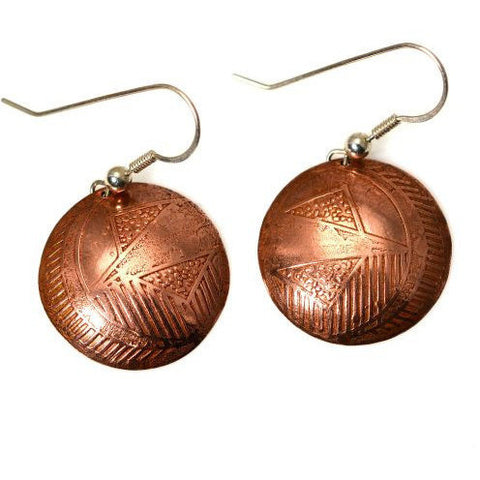 COPPER LEAF DISC EARRINGS - Side Street Studio