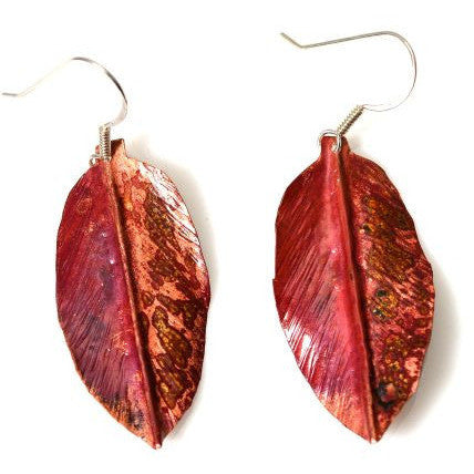 COPPER LEAF DESIGN EARRINGS - Side Street Studio