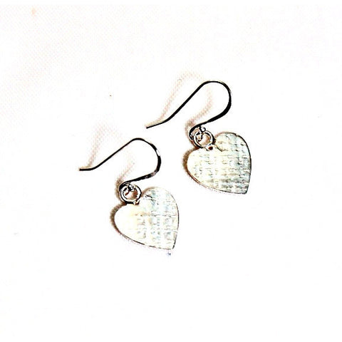 TEXTURED HEART STERLING SILVER EARRINGS - Side Street Studio
