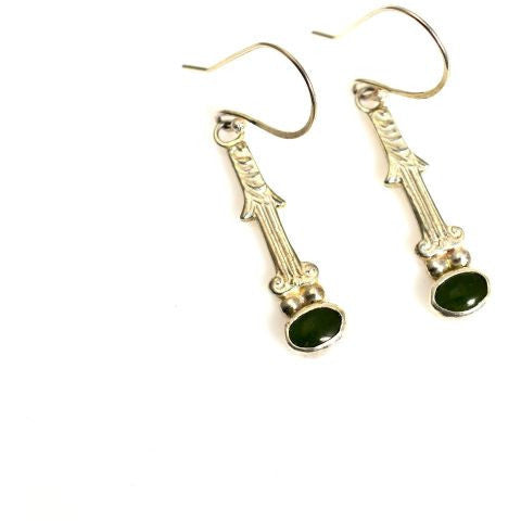 STERLING SILVER & JADE EARRINGS - Side Street Studio