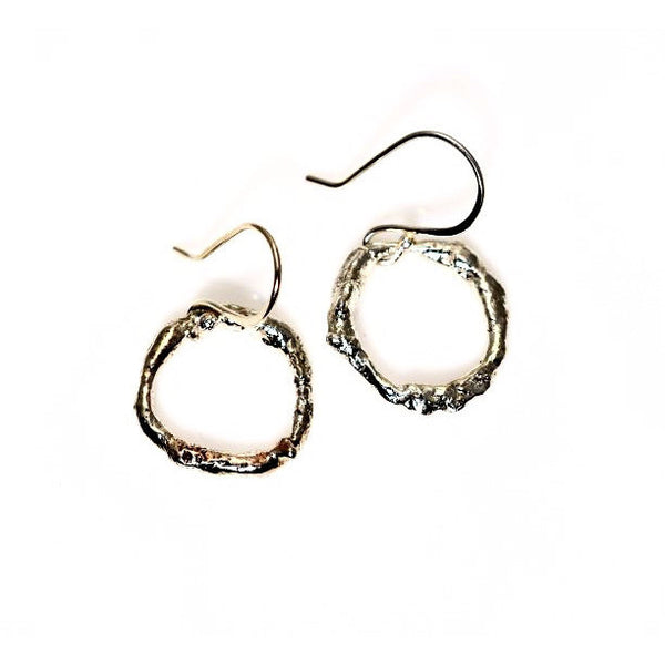 STERLING SILVER RETICULATED RING EARRINGS - Side Street Studio