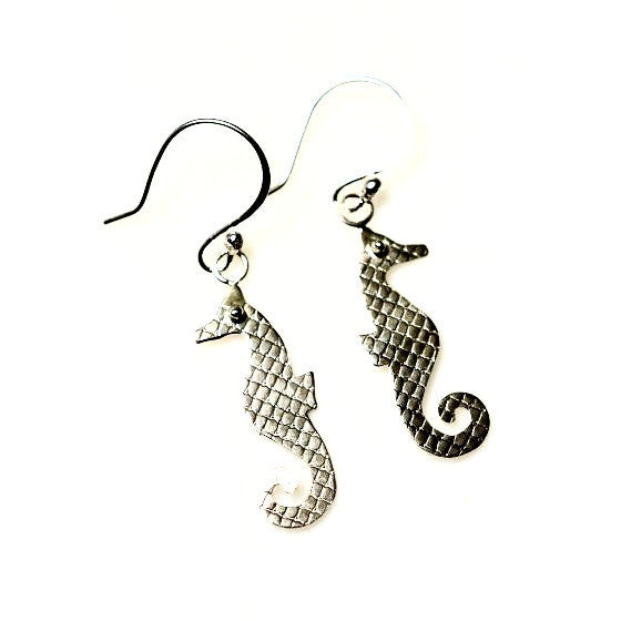 SILVER SEAHORSE EARRINGS - Side Street Studio