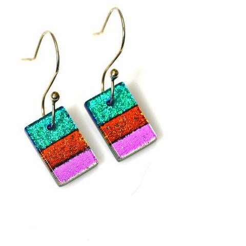 DICHROIC GLASS EARRINGS - Side Street Studio