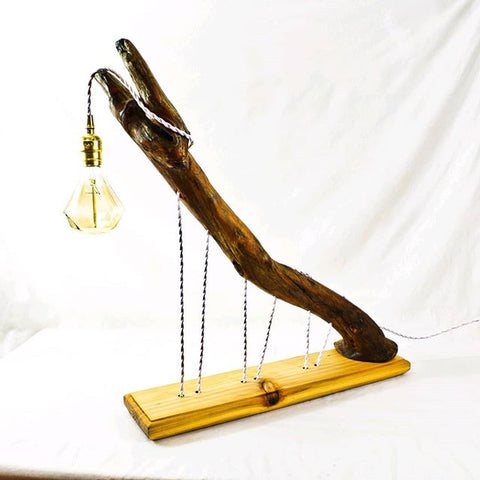 Strung Out Driftwood Wood Lamp