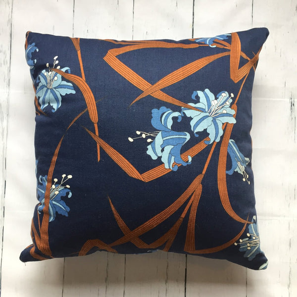 "20"" LILY INDIGO SQUARE PILLOW"