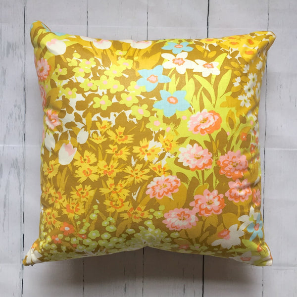 "20"" RETRO FLORAL MUSTARD SQUARE PILLOW"