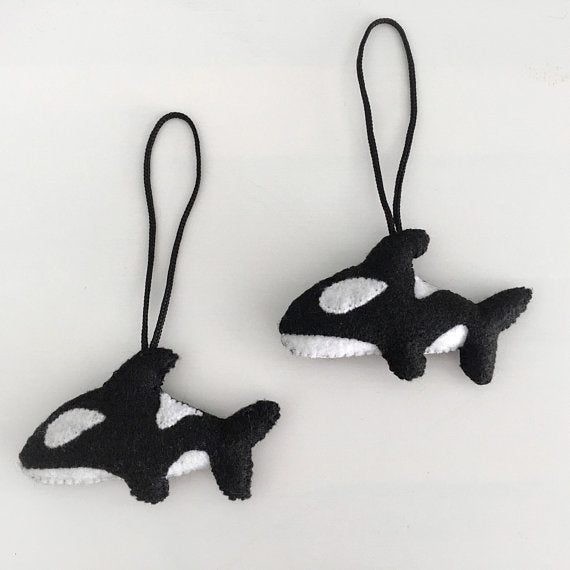 Hand Embroidered Orca Whale Ornament